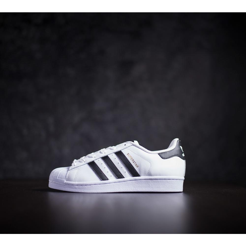 75fc331f7498 Dámske kožené biele tenisky adidas superstar J s čiernymi prúžkami a ...