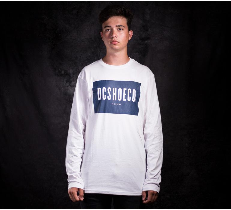 Biele pánske bavlnené tričko DC shoes Squareside LS s dlhým rukávom ... 31371352c8