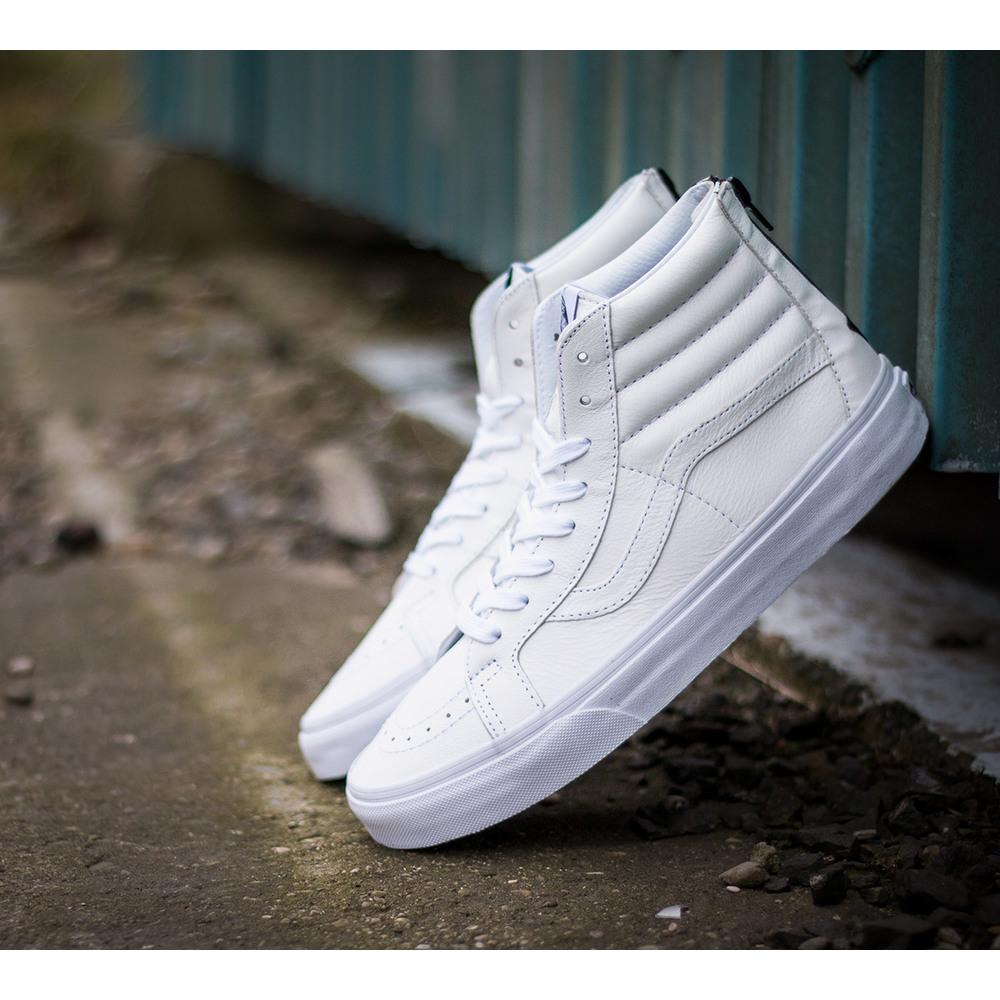 Čisto biele pánske kožené členkové tenisky Vans SK8 HI Reissue Zip s ... 69be235b661