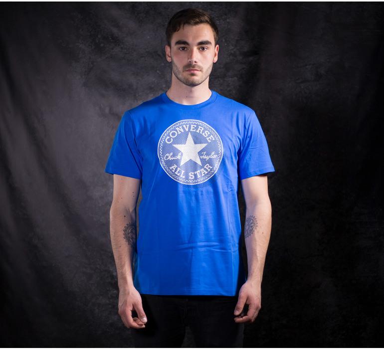 Modré pánske bavlnené tričko Converse Microdots CP s krátkym rukávom ... 34139dd5a57