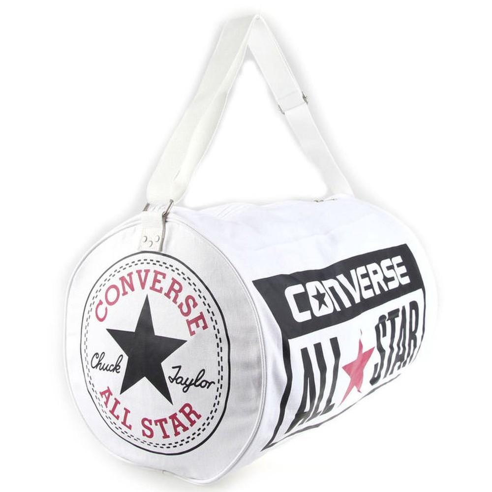 Biela športová taška značky Converse Legacy Barrel s veľkým logom na ... 754ee2ae51