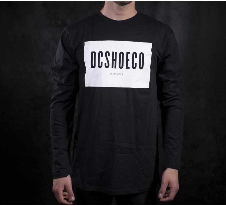 Pánske čierne bavlnené tričko DC shoes Squareside LS s dlhým rukávom ... ba7fbd5003