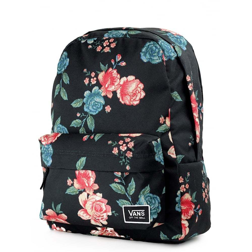 78e307358ae Dámsky čierny batoh s kvetinovým vzorom Vans Realm Classic s predným ...