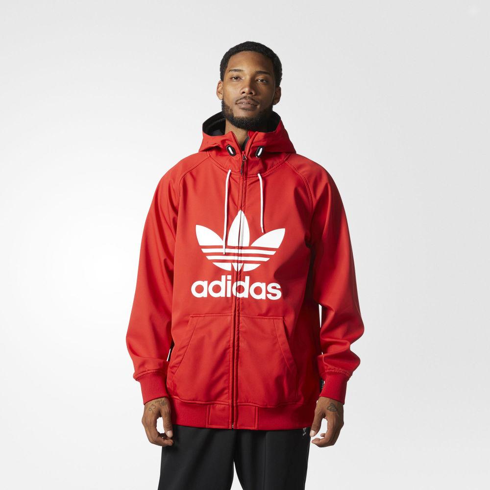 0fc113f92 Pánska červená Adidas Greeley Soft Shell na zips s veľkým bielym ...