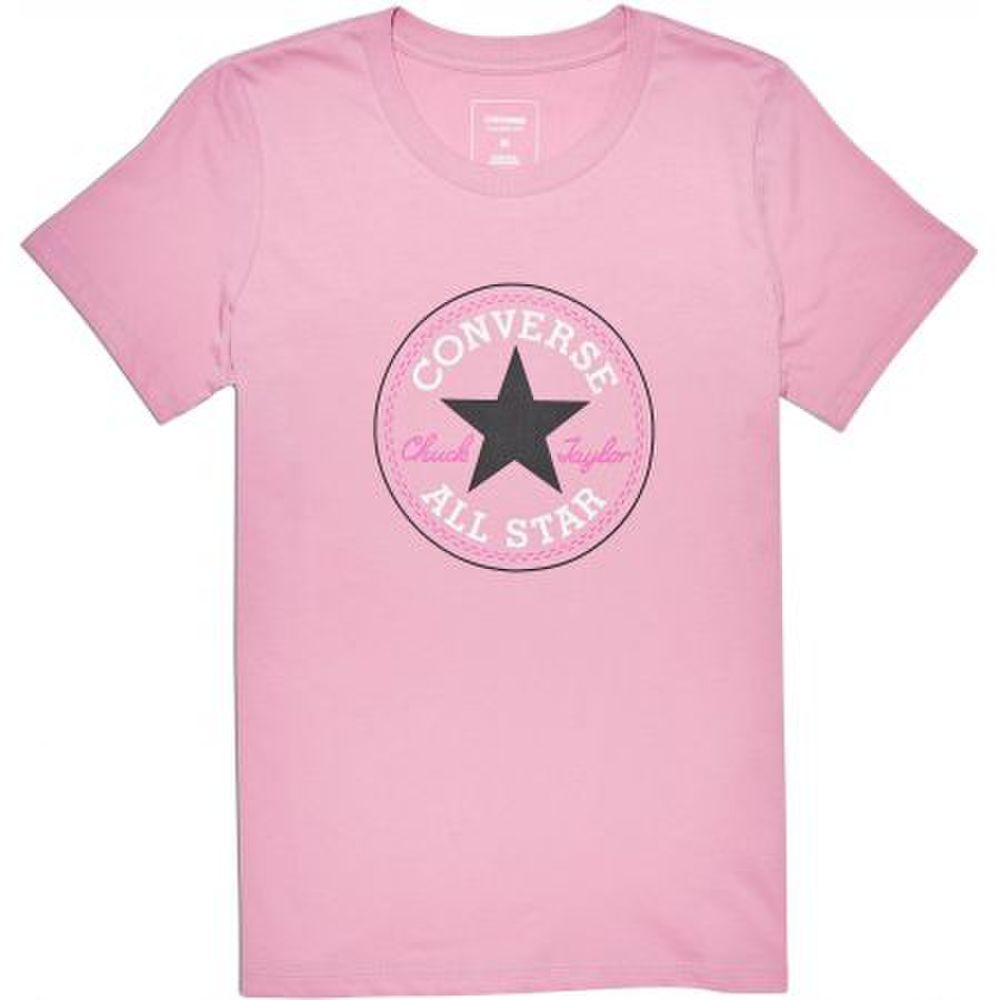 2e66e8da7f Dámske bavlnené ružové tričko Converse Core Solid s veľkou potlačou ...