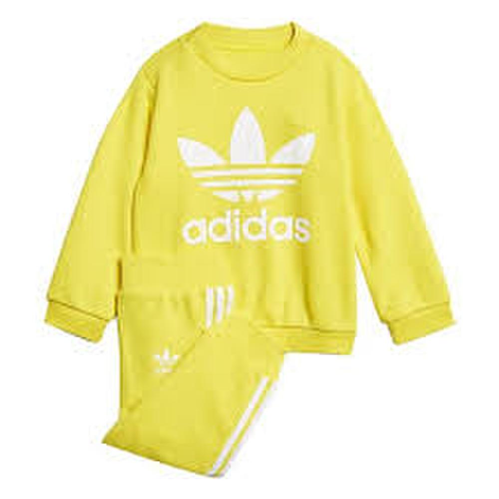 Detská žltá tepláková súprava Adidas Trefoil Crew s veľkým bielym ... 41340a5c8ca