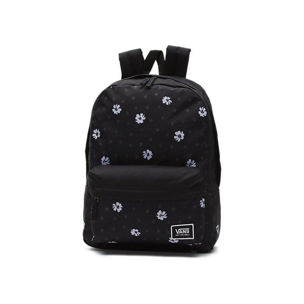 Dámsky čierny ruksak s bielymi kvetinami Vans Realm Backpack s ... c6208d06eba