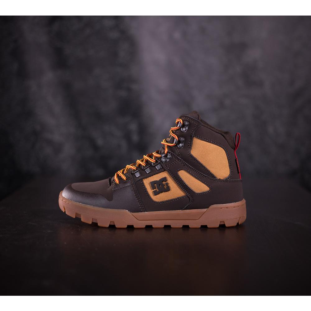 112f62abf Pánske zimné hnedé tenisky DC Shoes Pure HT WR s červeno-žltými ...
