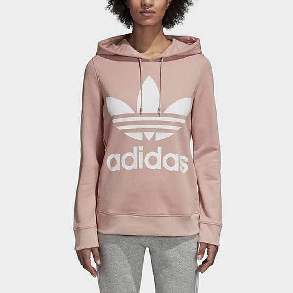 c6b71adab8 Dámska ružová mikina adidas Trefoil Hoodie s veľkým bielym logom na ...