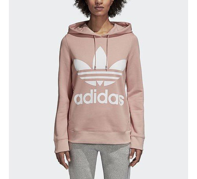 b64e7629ebf3d Dámska ružová mikina adidas Trefoil Hoodie s veľkým bielym logom na hrudi,  bočnými vreckami a s kapucňou - DH3134