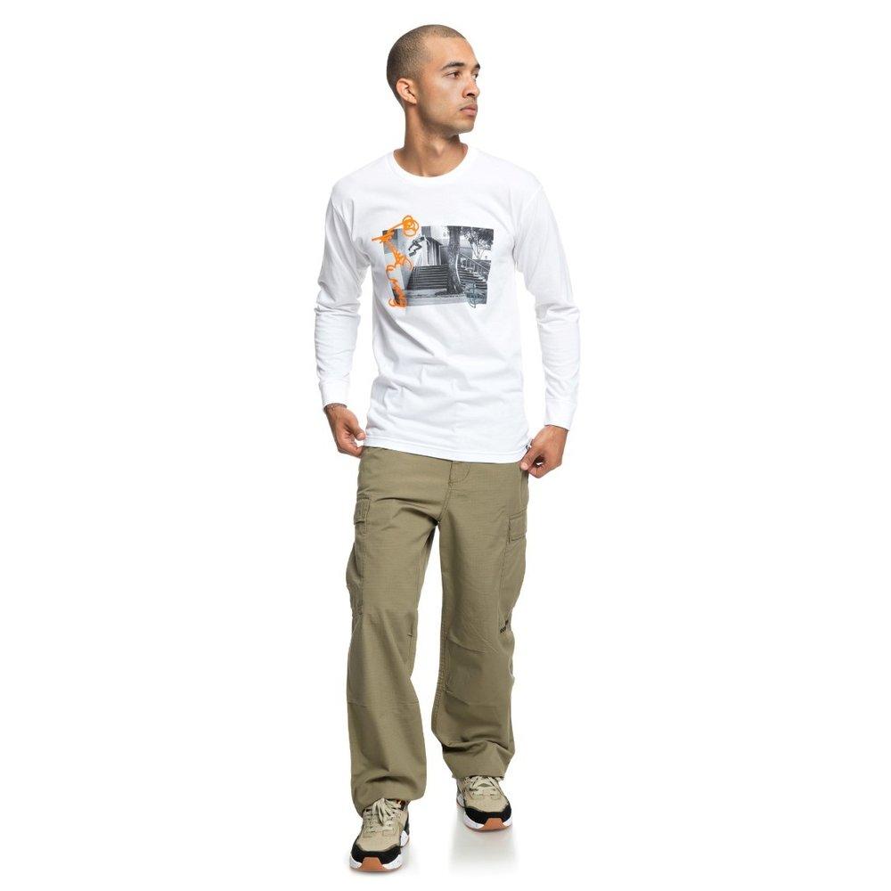 Pánske biele bavlnené tričko DC shoes model Ewan Wall Ride s dlhým ... 31e9790576