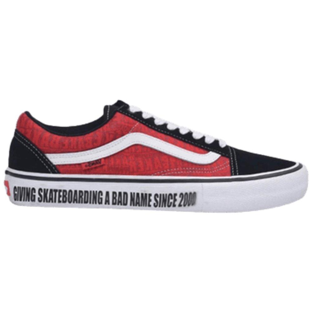 new product 47ef6 706d9 Pánske skateboardové tenisky Vans Old Skool Pro v čiernej farbe s červenými  bokmi a bielymi vlnkami na bokoch, bielymi šnúrkami a bielou podrážkou - ...